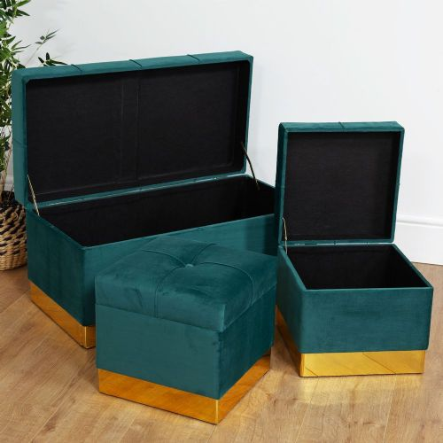 Dark Green Velvet Storage Ottoman Set Of 3 Pretty Upholstered Home Storage Chests & Stools